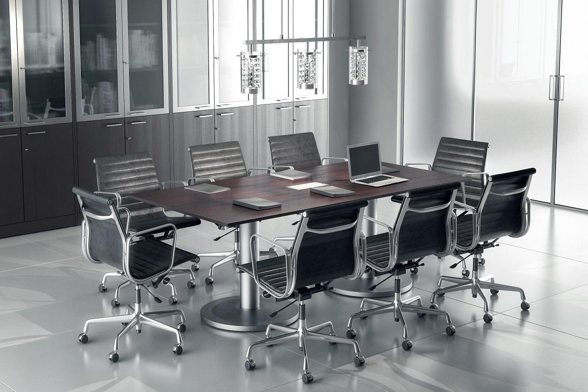 Tavolo riunioni rettangolare 200x100cm Contenitore alto a 4 ante con vetri