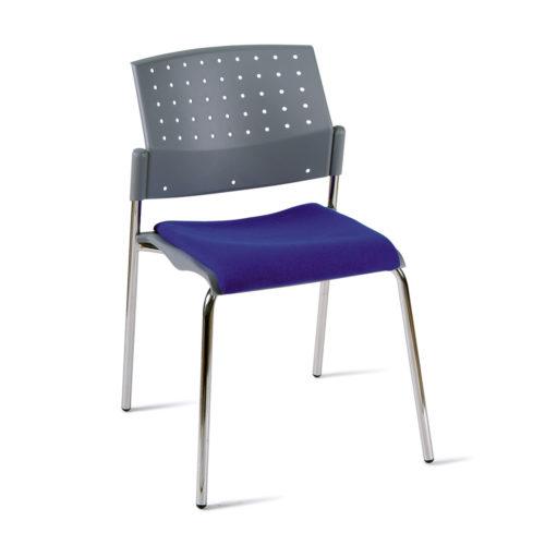 Sedia fissa impilabile con sedile imbottito