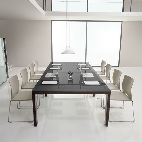 Tavolo riunioni modulare con piano in vetro Serie Elisia